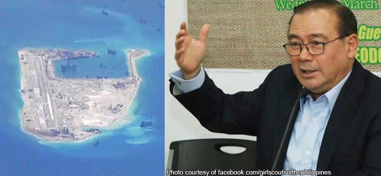 Kagitingan Reef (left), Secretary Teddyboy Locsin (right) Photos: Wikimedia.com & Facebook.com