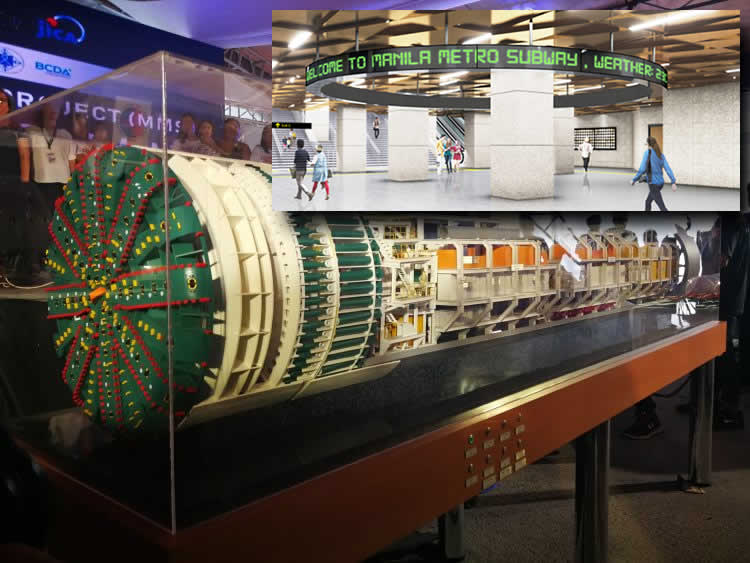 Scale model of the giant tunnel boring machine (TBM) that will create the underground tunnels for Metro Manila's new subway. (Inside picture) An artist's rendition of a subway station's underground concourse Photos: DOTr/facebook