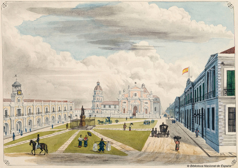 Painting of the Plaza Mayor de Manila in Intramuros circa 1847