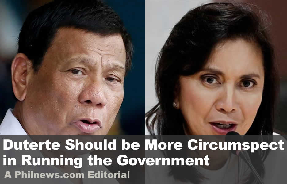 Duterte Should be More Circumspect in Running the Government